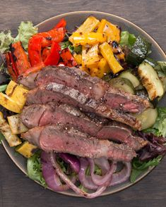 Grilled Veggie & Steak Salad