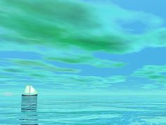 One small sailboat floating on the water by green cloudy day - render Small Sailboats, Boat Art, Cloudy Day, Titanic, Fine Art America, Digital Art, Clouds, Store, Water