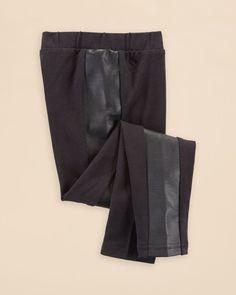 Ralph Lauren Girls' Faux Leather Panel Leggings - Sizes S-xl