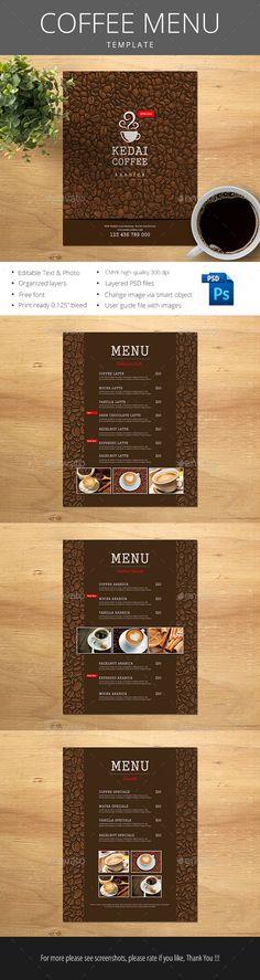 Coffee Menu Template PSD #cafe Download: http://graphicriver.net/item/coffee-menu/14488775?ref=ksioks