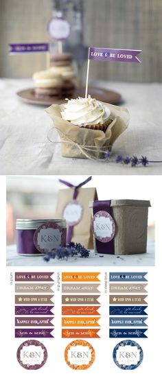 Cupcake Flags, Dessert and Gift Tags with a Love Theme by Ellinée. Free PDF Printable + Tutorial.