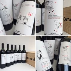 Wine labels for Clos Monicord 2012 - theme on birds at the vineyard - designed by Audrey Bakx