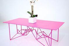 Midcentury Modern Furniture Yoshi + Pink + Steel Coffee Table by Coffee Table Base, Steel Coffee Table, Cool Coffee Tables, Modern Coffee Tables, Modern Table, Modern Decor, Yoshi, Contemporary Coffee Table, Contemporary Office