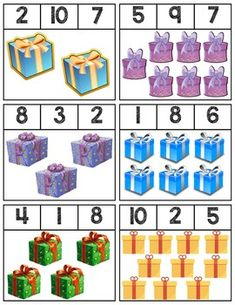 18 Clip cards featuring presents to help teach numbers Super easy prep! Kindergarten Math Worksheets, Homeschool Kindergarten, Preschool Learning Activities, Preschool Themes, Preschool Activities, Preschool Prep, Christmas Worksheets, Christmas Activities, Christmas Themes