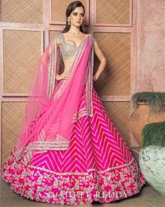 indian designer wear Technically, Anushree Reddy 2019 Bridal Lehengas have sort of launched in Lakme Fashion Week last month. But from the last few days, the designer has been rele Pink Lehenga, Lehenga Blouse, Ghagra Choli, Lehenga Style, Designer Bridal Lehenga, Indian Bridal Lehenga, Pakistani Lehenga, Bollywood Lehenga, Bollywood Fashion