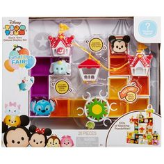 Includes: 1 Large Figure, 2 Small Figures, 3 Display Pieces with 15 Color Inserts, 8 Connector Plates, 3 Gondola Pieces with 1 Rope Piece and 1 Ferris Wheel. Tsum Tsum Figures, Tsum Tsum Toys, Disney Tsum Tsum, Disney Zoom Zoom, Toy Packaging, Tsumtsum, Barbie Birthday, Kawaii, Disneyland Trip