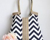 Blue chevron carry on hobo bag with burlap SPRING FASHION. $65.00, via Etsy.
