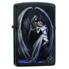 Zippo Lighter: Anne Stokes Skeleton Angel - Ebony