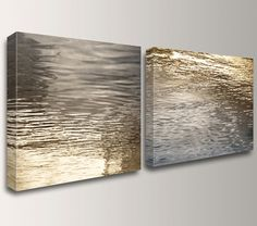 "Nature Photography - Gold and Grey Art - Canvas Print - Canvas Panels  -  Water Photo - Home Decor  - "" Beckon """