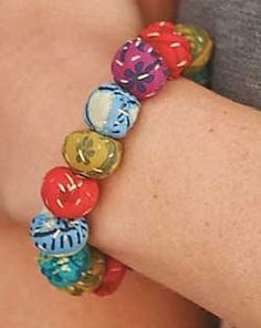Fabric covered bead braclet