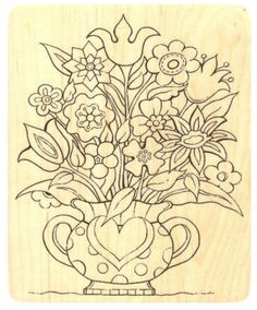 """{Single Count} Unique & Custom (3 1/2"""" by 4 1/4"""" Inches) """"Heart Flower Vase"""" Rectangle Shaped Genuine Wood Mounted Rubber Inking Stamp"""