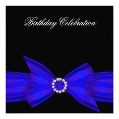 Elegant colbolt royal Blue Birthday Party Announcements