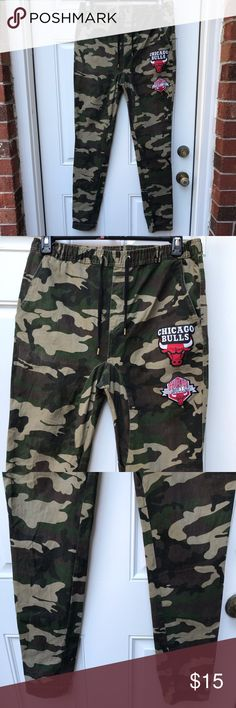 NBA Bulls Camo Joggers Camouflage with Chicago Bulls Logo patches. Drawstring. Long. 2 pockets. Clean and in great condition. NBA Pants Sweatpants & Joggers