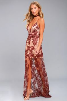 Finders Keepers Spectral Burgundy Lace Maxi Dress 2 Prom Dresses Under 100 55713f609