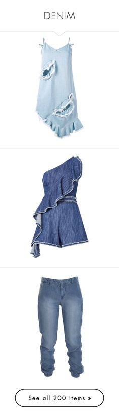 """DENIM"" by kareng-357 ❤ liked on Polyvore featuring dresses, blue, blue denim dress, blue asymmetrical dress, blue dress, asymmetrical dresses, denim dress, jumpsuits, rompers and jumpsuit"