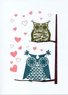Hoos in Love - Gocco Print Owls