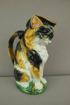 """MINTON RARE  majolica figural cat with mouse pitcher, calico color decoration 10"""""""