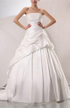 Cream Disney Princess Church Sleeveless Wedding Dress, Lace up Taffeta Chapel Train Pleated Bridal Gowns