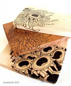 Chrysanthemum and Gear Cutting Board Trio
