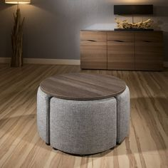 Modern Wenge Round Coffee Table with 4 Grey Cushioned Stools New Joy - Quatropi Coffee Table With Seating, Coffee Chairs, Unique Coffee Table, Round Coffee Table, Coffee Table Design, Round Stool, Kids Seating, Centre Table Living Room, Center Table