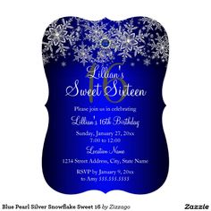 Blue Pearl Silver Snowflake Sweet 16 5x7 Paper Invitation Card