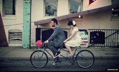 tandem bike bride groom wedding michigan
