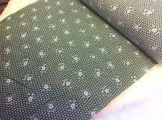 Green white Floral Cotton Blend  Small 11 1/2 Width Fabric   2 yards