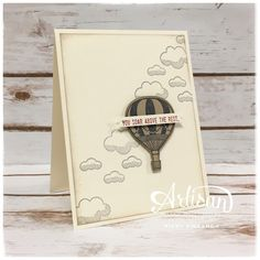Hi stampers! I have a really simple but cute card for you today with the lift me up bundle.     The balloon is night of navy ink on crumbs ...
