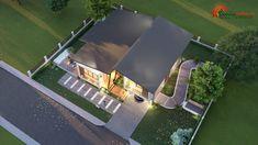 แบบบ้านโมเดิร์นชั้นครึ่ง 3 ห้องนอน 2 ห้องน้ำ สวยทันสมัย อบอุ่นน่าอยู่ - ที่นี่มีสาระ Model House Plan, House Plans, Rest House, Facade House, Model Homes, Exterior, House Design, How To Plan, Mansions
