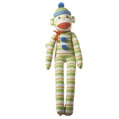 MVP Brands Seymour Striped Monkey Collectible, Green, Medium >>> See this awesome image  : Collectible Dolls for Home Decor