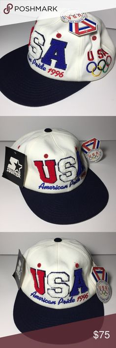 NOS Vtg Starter 96 Olympics Team USA Snapback Hat New Old Stock NOS Starter 1996 Olympics Snap Back Hat New With Tags, Excellent condition, very light faint discoloration from age on the inner band as shown Wool blend Coca Cola logo on right, Olympics rings on left, stitched USA lettering on front Zoom for detail. See all photos. STARTER Accessories Hats