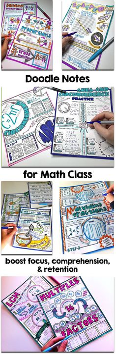 The doodle note strategy guides students to blend graphics and text, crossing over the brain hemispheres to lead to an increase in learning, focus, and retention of the math lesson material