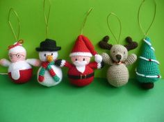I found very nice christmas amigurumi idea on web. Christmas is approaching. Crochet Christmas Decorations, Christmas Crochet Patterns, Crochet Decoration, Crochet Ornaments, Christmas Knitting, Xmas Ornaments, Crochet Winter, Holiday Crochet, Christmas Items