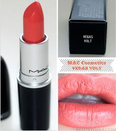 """The Crowning Coral: MAC Cosmetics Lipstick, """"Vegas Volt,"""" Photographs & Swatches 