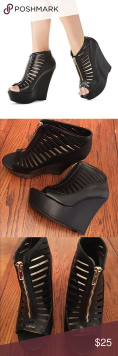 """Sale ends today JustFab Wedges Work the wedge trend in these which features a cool caged upper with a peep toe and a zip back. Faux leather...True to size...New in box Approx. Heel Height: 6"""" Approx. Platform Height: 2"""" Synthetic Upper Man Made Sole Imported  Trade  Hold JustFab Shoes Wedges"""