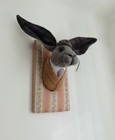 Sophisticated gentleman hare fabric sculpture. Animal in clothes faux taxidermy.