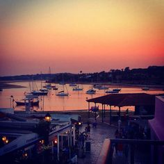 The sunset on Alvor harbour in Portugal