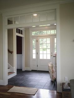 Foyer/love door and side panel of windows. Also, love entry way floor Foyer/love door and side panel of windows. Also, love entry way floor House Plans, Foyer Flooring, Home, House Entrance, Home Addition, New Homes, House, Entry Hallway, Doors Interior