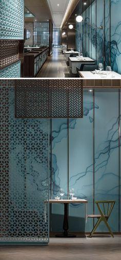 Современная ресторанная декоративная голубая стеновая панель