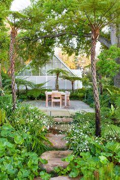 Designer: Carrie Latimer Style: Water Garden Type: Private Garden Area: Cape Town Garden Types, Outdoor Furniture Sets, Outdoor Decor, Private Garden, Water Garden, Open Up, Carrie, South Africa, Brick