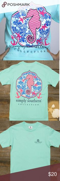 Simply Southern T-Shirt ❥ S I M P L Y . S O U T H E R N ❥ This t-shirt is sea foam green/ light blue & features a seahorse! Perfect for summer days ❥ size: small Simply Southern Tops Tees - Short Sleeve