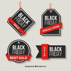 Paquet de vendredi noir vente des étiquettes avec des rubans rouges Vecteur gratuit