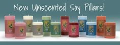 We are happy to announce the newest addition to the Sunbeam Candles product line!  Brighten your home and add color to your life with our new Unscented Soy Pillar candles!  With six unique colors to choose from,  our Soy Pillars provide wonderful options for enhancing home decor and lighting up any space with the pure glow of candlelight. On Sale Now!
