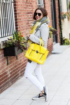 Love This Colours Block Oversized Scarf , Grey Jacket , White Ripped Skinnies , Yellow Leather Handbag