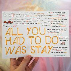 All You Had To Do Way Stay by Taylor Swift lyrics, hand drawn by http://allaroundtaylor.tumblr.com/.