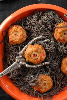 Diablo Eyeballs and Black Bean Pasta
