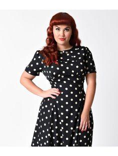 20774acc7e3 Hell Bunny Plus Size Black   Cream Polka Dot Madden Swing Dress