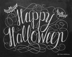 Happy Halloween Sign - Halloween Chalkboard Art - Halloween Decor - Black and White Halloween - Halloween Art - 11x14 Print