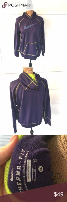 Nike thermafit purple hoodie Gently used. Still looks new! Great for a gift !!     •no trades•no offsite transactions•no low balls•offers considered through the offer feature only!•save when you bundle• Nike Sweaters