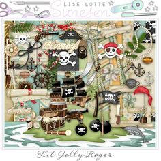 JOLLY ROGER - A Digital Scrapbooking Kit - Pirates, Treasure Chest, Flag, Coin, Scroll, Frame, Frame Cluster, Pearl, Pearl Necklace, Papers by DigitalScrapWorld on Etsy